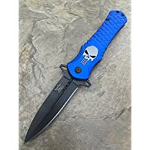 Dark Side Blades Punisher Blue Aluminum Handle Knife Folding Pocket Handy Knife