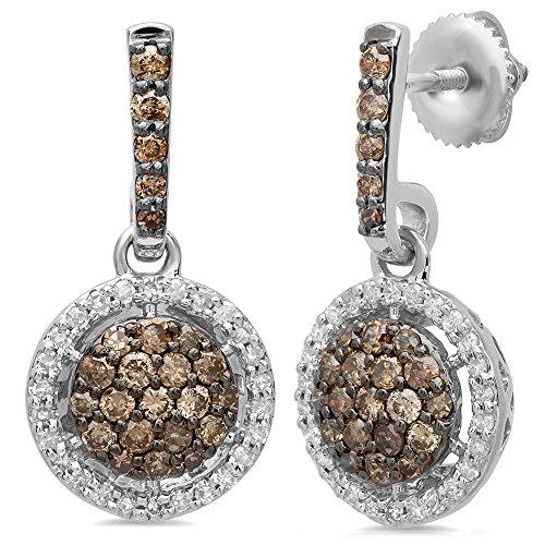 1.15 Ct Diamond - Dazzlingrock Collection 1.15 Carat (ctw) 14K Round Cut Champagne & White Diamond Ladies Dangling Drop Earrings, White Gold