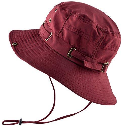 KISSBAOBEI Outdoor Sun Cap with Wind Lanyard Adjustable Boonie hat (Red) 2950b0f66560