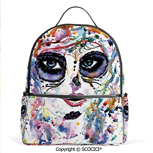 3D Printed Pattern Backpack Halloween Girl with Sugar Skull Makeup Watercolor Painting Style Creepy Decorative,Multicolor,Adorable Funny Personalized Graphics -