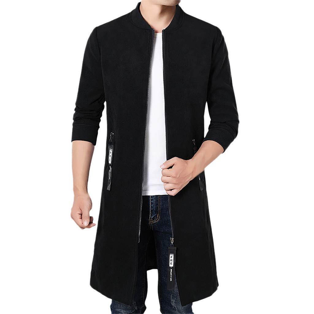 Men Long Windbreaker Coat ByAllywit Solid Tailcoat Jacket Gothic Stand Collar Zipper Jacket Party Outwear