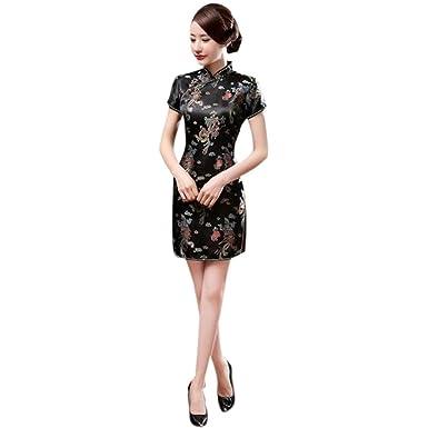 0f1ef5e1db8f Meijunter Cinese Tradizionale Donne Retro Floreale Stampato Maniche Corte  Cheongsam Broccato Qipao Vestito da Sera  Amazon.it  Abbigliamento