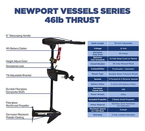 Newport Vessels NV-Series 46lb Thrust Saltwater Transom Mounted Trolling Electric Trolling Motor w/LED Battery Indicator & 30 Shaft