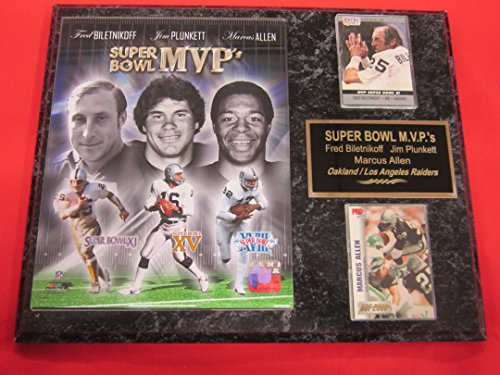 Marcus Allen Fred Biletnikoff Jim Plunkett Raiders 2 Card Collector Plaque w/8x10 Photo SUPER BOWL MVPs