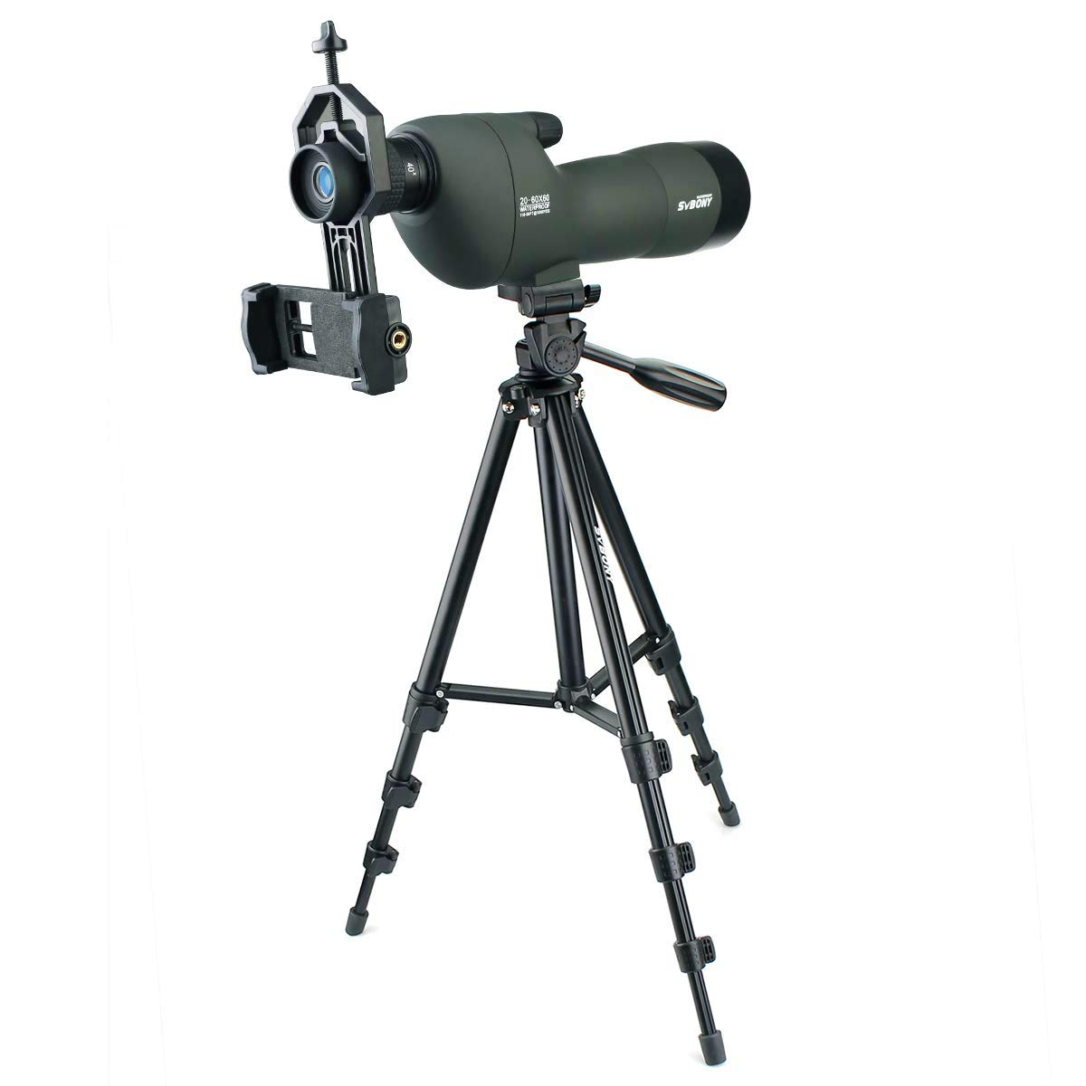 SVBONY SV28 20-60x60 Spotting Scopes Straight Scope Telescope for Bird Watching Target Shooting Hunting Waterproof Spotting Scopes 4-section Tripod Tabletop Tripod Cell Phone Adapter by SVBONY