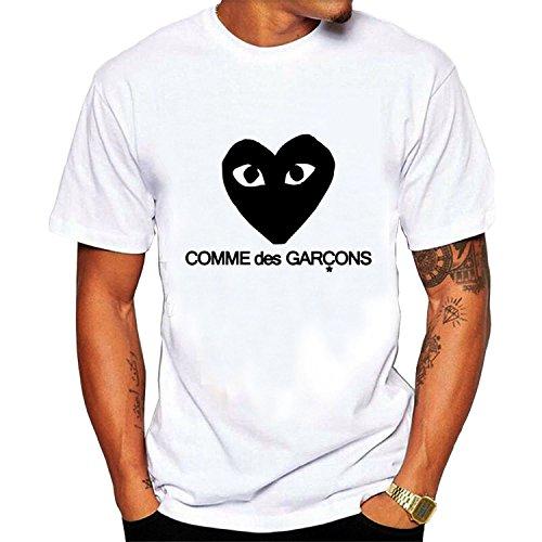 96590150a60d Comme Des Garcons Heart Graphic Tee Men s Short Sleeve T-Shirt white