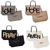 AT001 Set of 8 Love, Hope, Pray and Amen Jute Tote Bags. 21.75'' W x 15'' H x 6.5'' D.