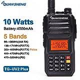 Quansheng TG-UV2PLUS High Power 10W 5 Bands (88-108MHz/136-174MHz/350-390MHz/400-470MHz/470-520MHz) Large Capacity 4000mAh TG-UV2 PLUS Two Way Radio Walkie Talkie