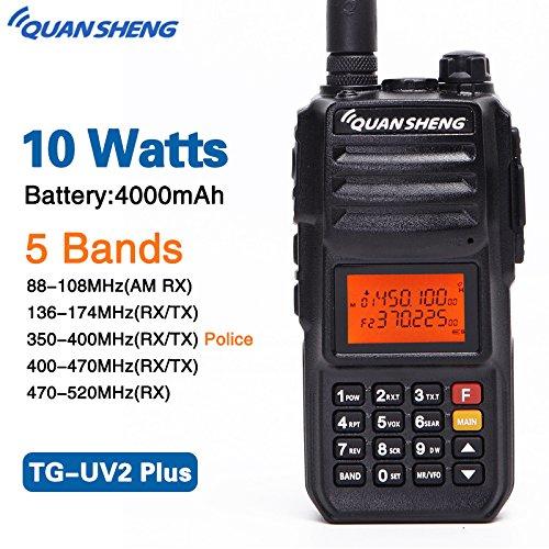 (Quansheng TG-UV2PLUS High Power 10W 5 Bands (88-108MHz/136-174MHz/350-390MHz/400-470MHz/470-520MHz) Large Capacity 4000mAh TG-UV2 PLUS Two Way Radio Walkie Talkie)