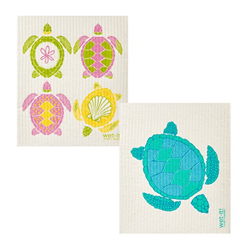 Wet-It! Swedish Dishcloth Set of 2 (4 Sea Turtles and Single Turtle)