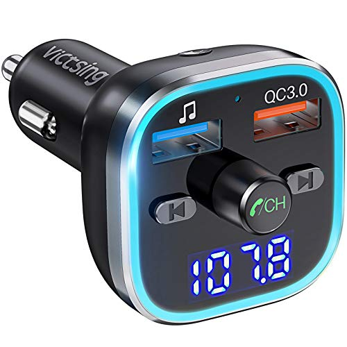 VicTsing BH378 FM Transmitter, Bluetooth 5.0 Car Radio Audio Adapter & 6 RGB Colorful Light, MP3 Player Support Hands…