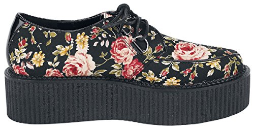Industrial Creepers Flowers noir Punk rouge Chaussures 0rwqx0T5