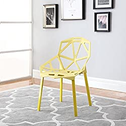 Modern Set of 2 Hollow-Out Geometric Style Chair (Yellow)
