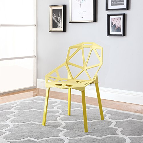 Modern Set of 2 Hollow-Out Geometric Style Chair (Yellow) by Divano Roma Furniture
