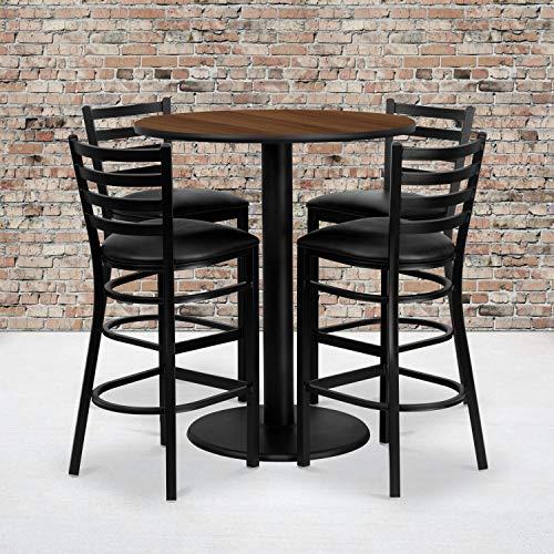 Flash Furniture 36'' Round Walnut Laminate Table Set with 4 Ladder Back Metal Barstools - Black Vinyl Seat 36' Bar Height Table