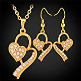 GDSTAR 18K Gold Plated Heart Necklace Pendant Earrings Jewelry Set Austrian Rhinestone Jewelry Gift For Women