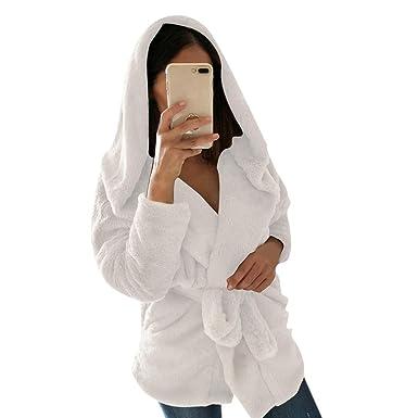 Vectry Estiloso Abrigo de Mujer de Color sólido con Capucha, la Chaqueta de Peluche sintético con Manga Larga y cinturica, para el Actividad del Ocio y ...
