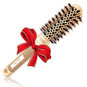 """Blow-dry Round Brush (1.3"""" Small Barrel) with Natural Boar Bristles for Salon-Like Blowouts, Styling, Curling Short Hair with Volume or Bouncy Curls"""