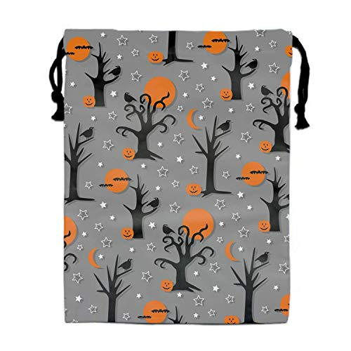 Mastexoru drawstring backpack Spooky Halloween Trees Print Drawstring Bag for Kids Party Favors Supplies Backpack Gym ()