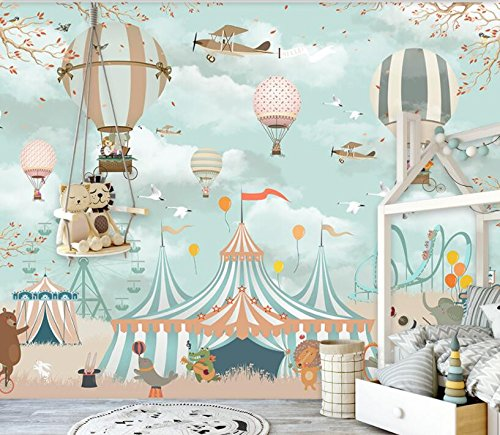 200X140Cm, Large 3D Cartoon Wallpaper Hot Air Balloon Animal Airplane Pup Circus Playground Background Wall 3D Wallpaper Mural,by ZLJTYN