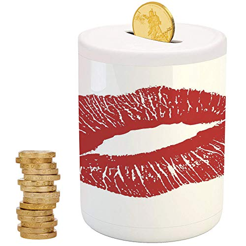 Kiss, Cans Cute Money Boxes,for Party Decor Girls Kid's Children Adults Birthday Gifts,Print of Red Lips Kiss Mark on White Background Seductive Trace with Grunge Display ()