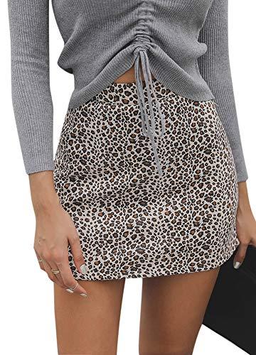 (Romacci Women Mini Skirt Leopard Print Back Zipper Sexy Slim Package Short Skirt A-line Skirt)