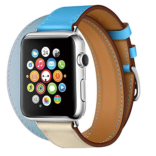 (TEXSCOPE Compatible for Iwatch Band, Genuine Leather Double Tour Apple Watch Straps 38mm/42mm with Replacement for Men Women iwatch series3/2/1 (Bleu Lin/Craie/Bleu du Nord Swift, 38mm))