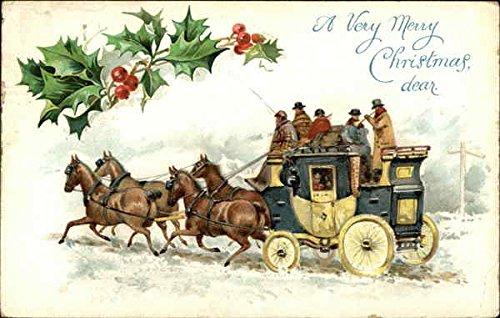 Christmas Postcard Holly - Coach & Horses and Holly Christmas Original Vintage Postcard