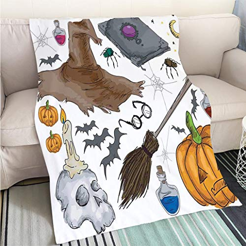 Weave Pattern Printed Multicolor Custom Design Halloween Decorations Magic Spells Witch Craft Objects Doodle Style Grunge Design Candle Skull Multi Hypoallergenic Blanket for Bed Couch Chair