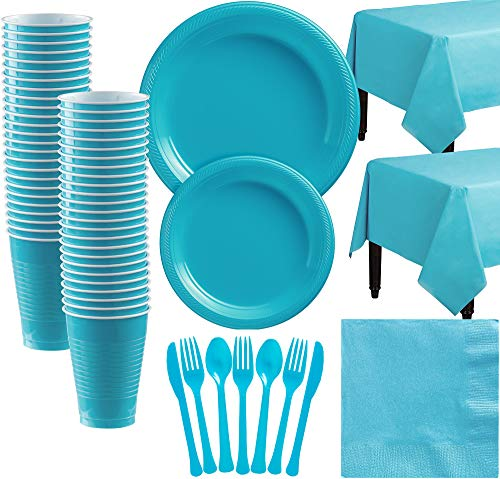 Amscan Caribbean Blue Plastic Tableware Kit for 50 Guests, Party Supplies, Includes Table Covers, Plates, Cups and More from amscan