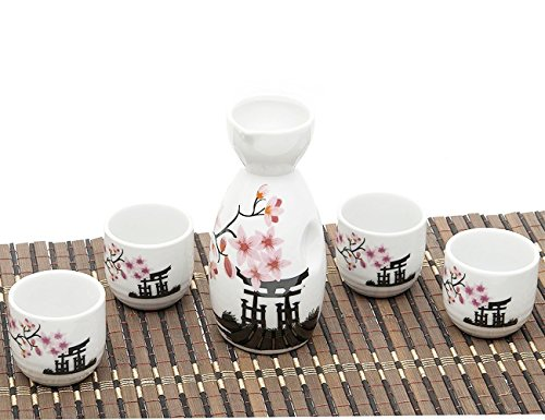 5 Piece Japanese Sake Cup Set Hand Painted Cherry Blossoms Flower Design Porcelain Pottery Traditional Ceramic Cups Crafts Wine Glasses - Sake Pot