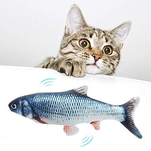 LayOPO Electric Dancing Fish Catnip Kicker Toy, USB Rechargeable Washable Simulation Wagging Fish Toy for Cats/Kitten, Funny Interactive Pets Chew Bite Kicking Supplies, 30cm