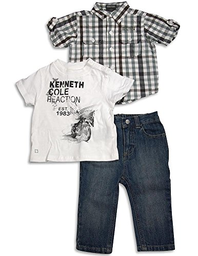 Boys Kenneth Cole 3 Piece - Kenneth Cole Reaction - Baby Boys 3 Piece Short Sleeve Jean Pant Set, Green, White, Denim Blue 31337-12Months