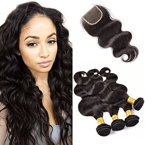 Originea TM 4 Bundles Cambodian Body Wave Virgin Human Hair Closure With...