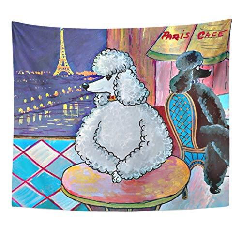 Semtomn Tapestry Artwork Wall Hanging Silver Black Poodles in Paris Painting Eiffel Tower Scene 50x60 Inches Home Decor Tapestries Mattress Tablecloth Curtain Print