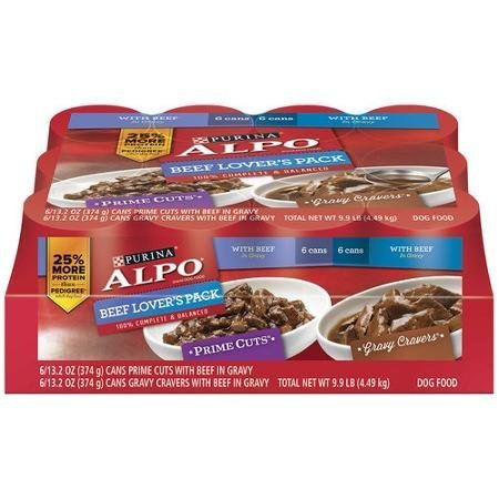 ALPO Beef Lover's Pack Prime Cuts/Gravy Cravers Dog Food 12-13.2 oz. Cans Alpo Prime Cuts Beef