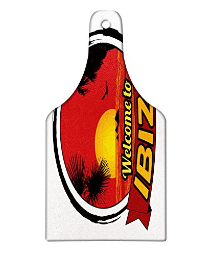 Lunarable Ibiza Cutting Board, Sundown in Balearic Islands South of Spain with Tropical Trees and Fauna, Decorative Tempered Glass Cutting and Serving Board, Wine Bottle Shape, Orange Black and Ruby by Lunarable