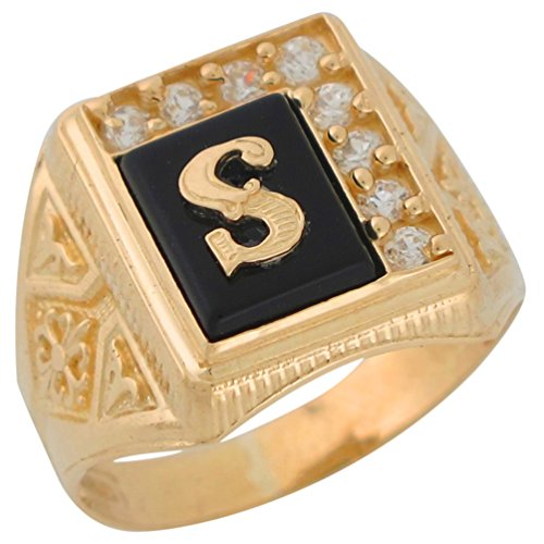 14k Yellow Gold Black Onyx White CZ Accented Mens Classic Letter S Initial Ring
