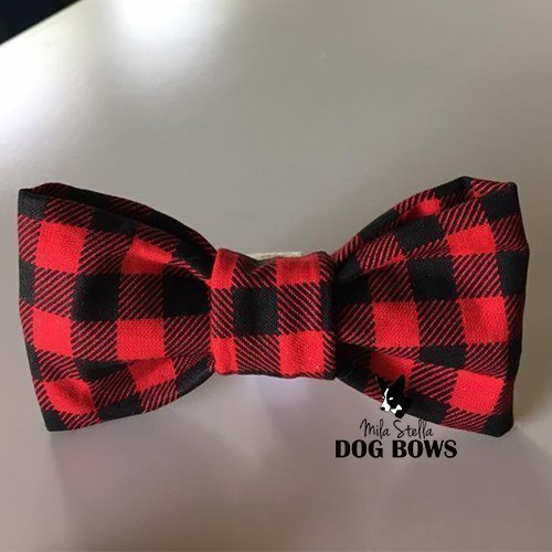 Christmas Dog Bow Tie - Mila Stella Dog Bow - Cotton dog bow - Dog Collar Bow - Handmade in USA
