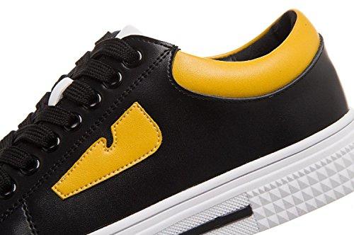 YCMDM Women'sGenuine Scarpe in pelle Scarpe sportive scarpe di bordo Studenti scarpe casual comode scarpe singole primavera e in autunno , black yellow , 36