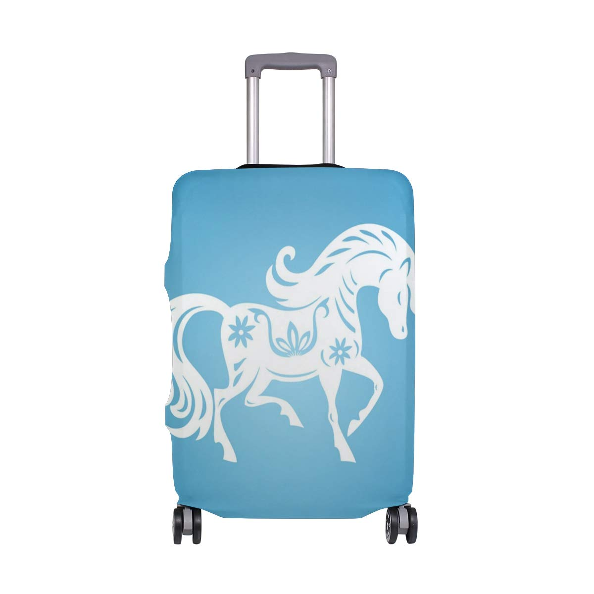 Art Glowing White Horse suitcase cover elastic suitcase cover zipper luggage case removable cleaning suitable for 29-32 trunk cover