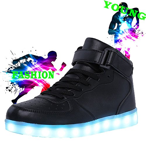 Demango Led Light Up Schoenen Voor Heren Dames Hoge Top Knipperende Oplaadbare Sneakers Black5