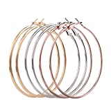 3 Pairs Women Fashion Simple Big Round Circle Earrings Smooth Alloy Earrings (Golden + Silver + Rose Gold)