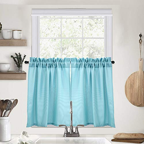 IDEALHOUSE Aqua Blue Tier Curtains,Waffle Woven Textured Short Window Curtain for Cafe,Bathroom,Kitchen & Kids Bedroom Rod Pocket Curtains(2 Panels, 30Inch Wide by 30Inch Long) (Tier 30 Curtain)