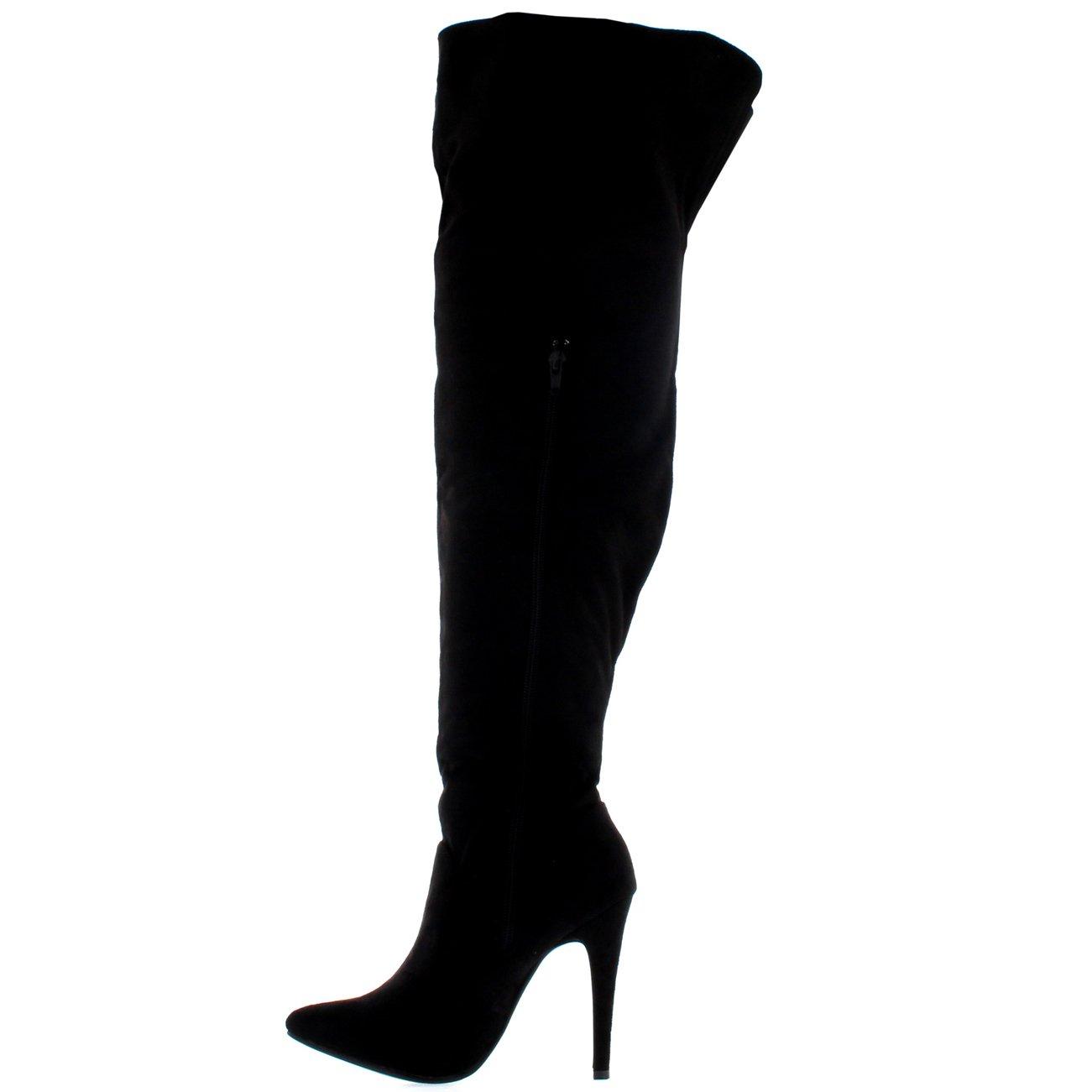 0325516e9c7a Viva Womens Thigh High Platform Stretch High Heels Evening High Heels  Boots  Amazon.co.uk  Shoes   Bags