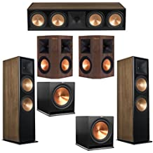 Klipsch 5.2 Walnut System with 2 RF-7 III Floorstanding Speakers, 1 RC-64 III Center Speaker, 2 Klipsch RP-250S Surround Speakers, 2 Klipsch R-115SW Subwoofers