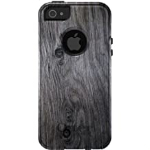 CUSTOM Black OtterBox Commuter Series Case for Apple iPhone 5 / 5S - Grey Weathered Wood Grain