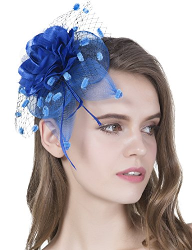 Hats And Headpieces (Girls Tea Party Derby Fascinator Hat Bridal Headpiece 20s Feather Flower Veil Headband)