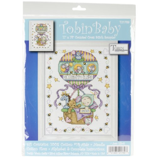 Tobin 14 Count Balloon Ride Birth Record Counted Cross Stitch Kit, 11 by 14-Inch Birth Record