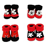 Disney Baby Boys' Mickey Mouse 4 Pair Terry Booties Gift Set,  Rojo